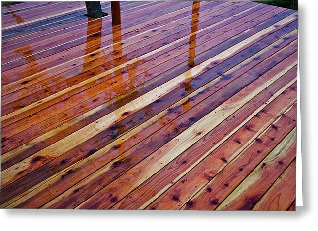 Rain On Redwood Deck Greeting Card