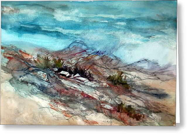 Greeting Card featuring the painting Rain Over The Mountain by Ron Stephens