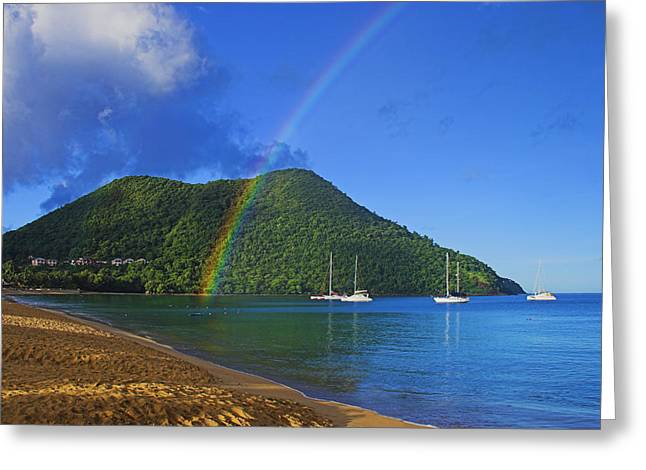 Greeting Card featuring the photograph Rainbow And Boats- St Lucia by Chester Williams