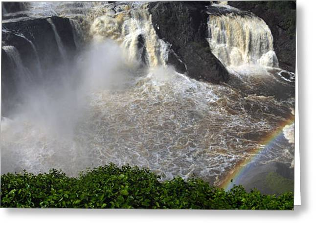 Greeting Card featuring the photograph Rainbow And The Waterfall by Vilas Malankar