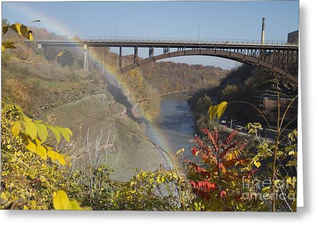 Greeting Card featuring the photograph Rainbow At Lower Falls by William Norton