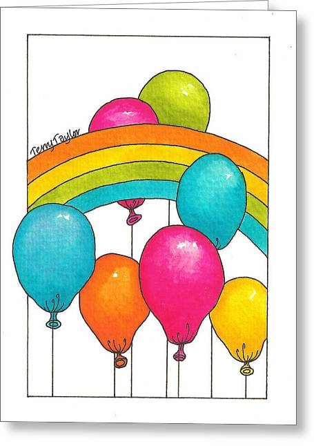 Greeting Card featuring the painting Rainbow Balloons by Terry Taylor