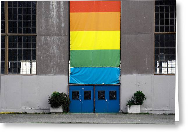 Greeting Card featuring the photograph Rainbow Banner Building by Kathleen Grace
