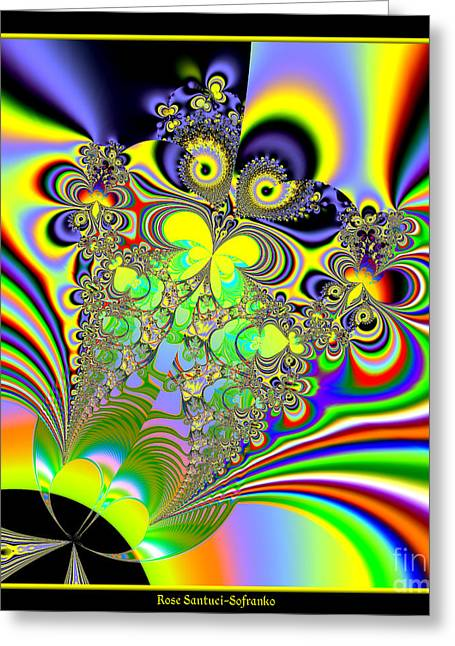 Rainbow Butterfly Bouquet Fractal 56 Greeting Card by Rose Santuci-Sofranko