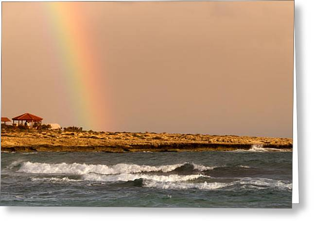 Rainbow By The Sea Greeting Card by Stelios Kleanthous