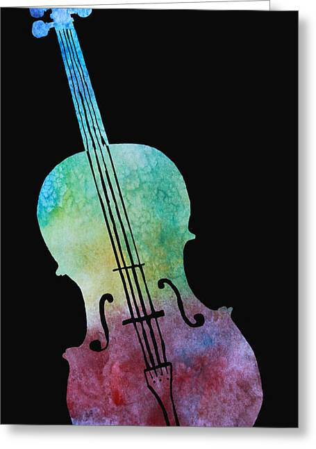 Rainbow Cello Greeting Card by Jenny Armitage