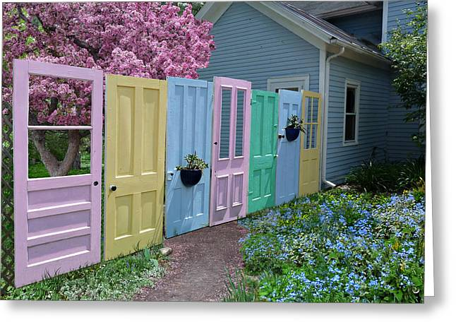 Greeting Card featuring the photograph Rainbow Doors by Judy  Johnson