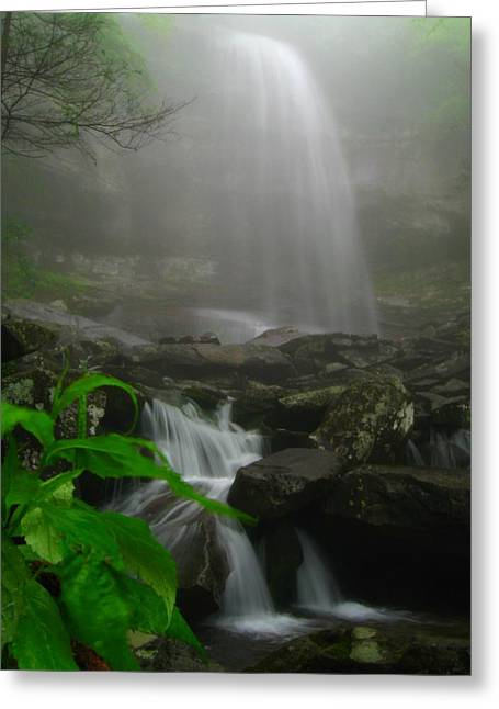 Greeting Card featuring the photograph Rainbow Falls In Fog by Doug McPherson