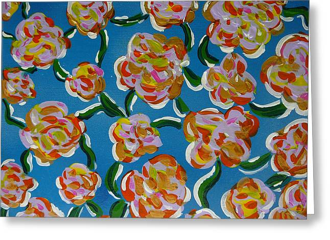 Greeting Card featuring the painting Rainbow Flowers Blue by Gioia Albano