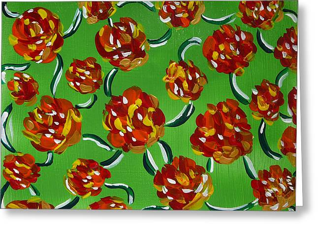 Greeting Card featuring the painting Rainbow Flowers Green by Gioia Albano