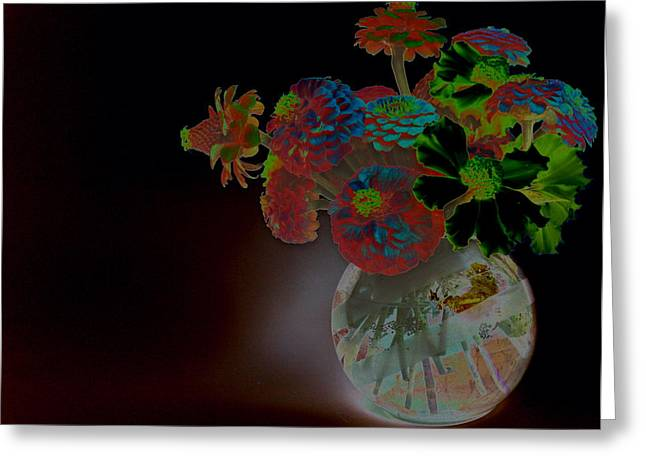 Rainbow Flowers In Glass Globe Greeting Card by Padre Art