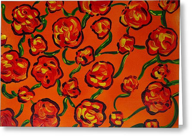 Greeting Card featuring the painting Rainbow Flowers Orange by Gioia Albano
