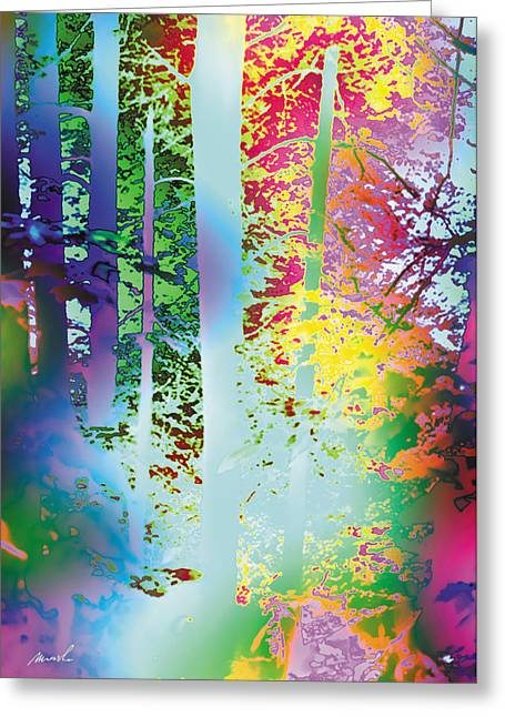 Rainbow Forest Greeting Card by The Art of Marsha Charlebois