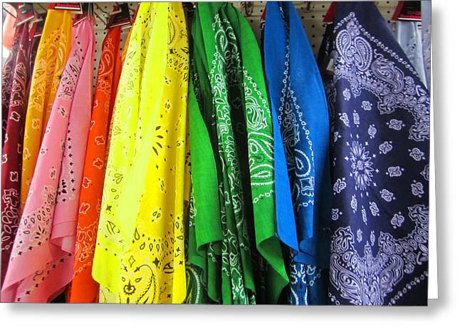 Rainbow Full Of Bandanas Greeting Card by Kym Backland