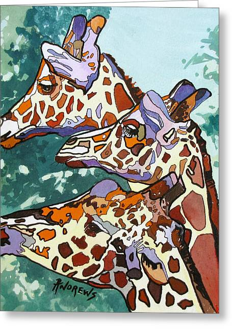 Greeting Card featuring the painting Rainbow Giraffes by Rae Andrews