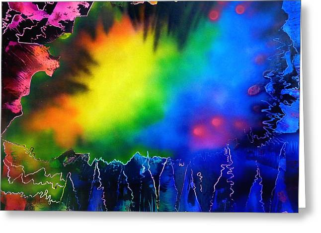 Rainbow Haze Greeting Card by Rylee Stearnes