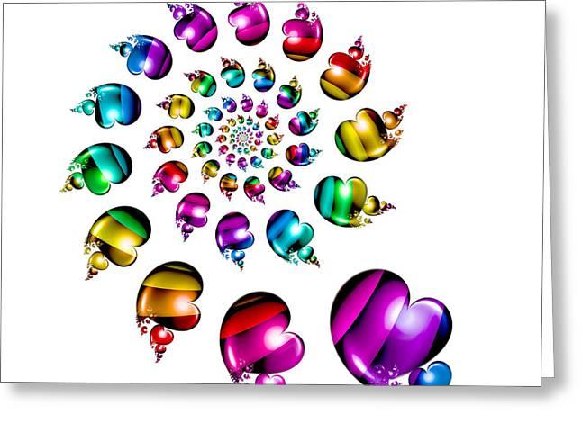 Rainbow Heart Wheel On White Greeting Card by Pam Blackstone