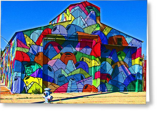 Rainbow Jug Building Greeting Card by Samuel Sheats