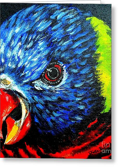 Greeting Card featuring the painting Rainbow Lorikeet Look by Julie Brugh Riffey