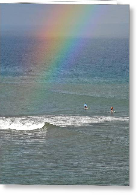 Greeting Card featuring the photograph Rainbow Mists And Surfing Too by Kirsten Giving