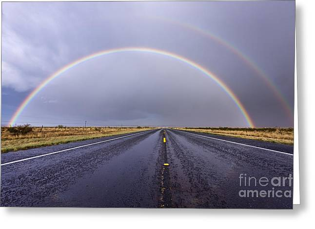 Rainbow On A Rural Road Greeting Card by Jeremy Woodhouse