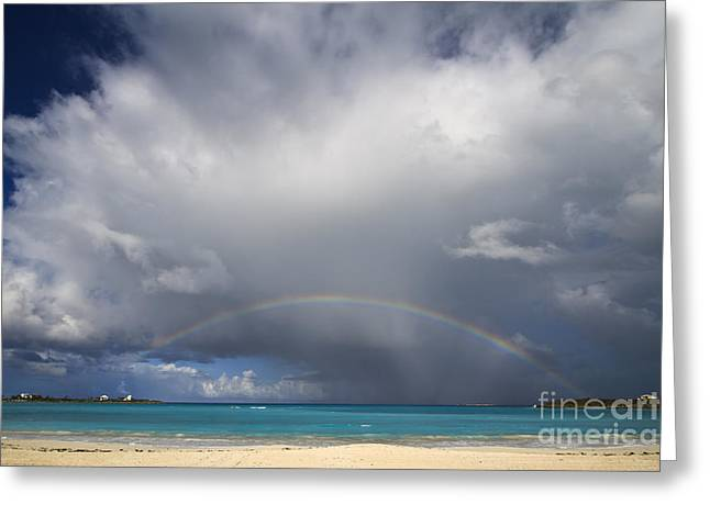 Rainbow Over Emerald Bay Greeting Card by Dennis Hedberg