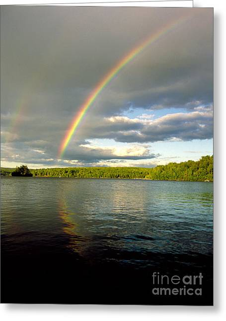 Rainbow Over Lake Wallenpaupack Greeting Card by Michael P Godomski and Photo Researchers