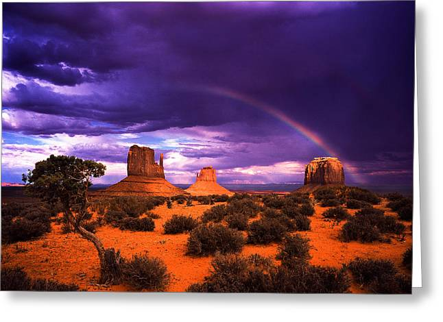 Rainbow Over Monument Valley Greeting Card by Daniel Chui