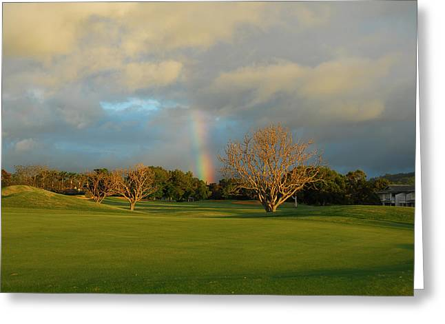 Greeting Card featuring the photograph Rainbow Over Princeville by Lynn Bauer