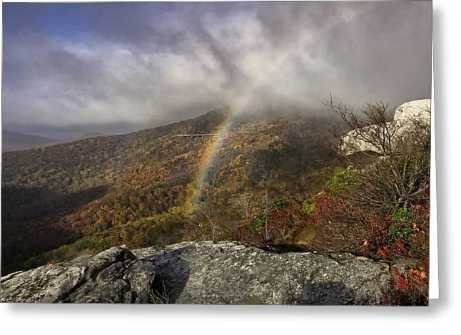 Rainbow Over Rough Ridge - Nc Autumn Scene Greeting Card by Rob Travis