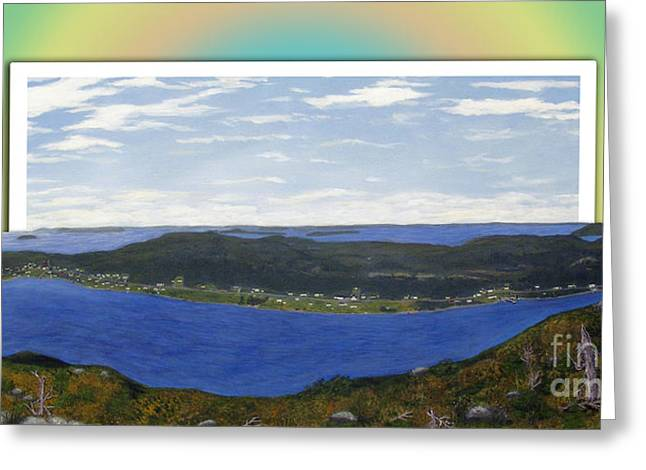 Rainbow Over The Harbour Greeting Card by Barbara Griffin