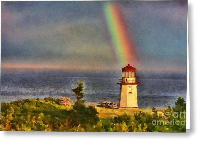 Rainbow Over The Lighthouse In Perce Quebec Greeting Card