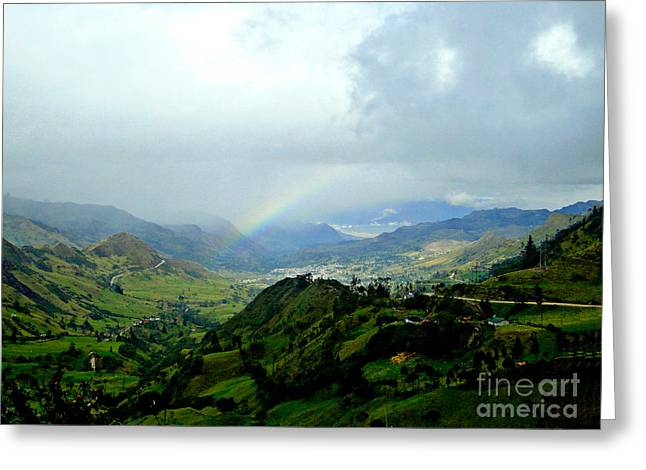 Rainbow Over The Yunguilla Valley Greeting Card by Al Bourassa