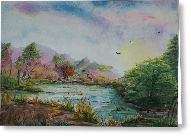 Rainbow Pond Greeting Card by Barbara McGeachen
