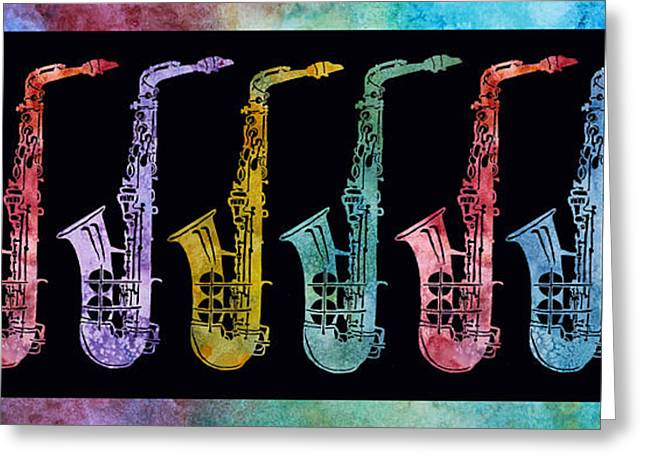 Rainbow Saxophones  Greeting Card by Jenny Armitage