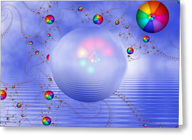 Rainbow Sphere On Blue Lake Greeting Card by Pam Blackstone