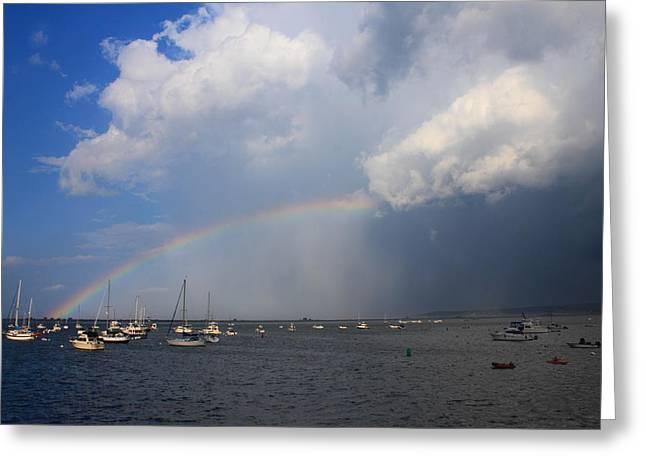 Rainbow Trailing Thunderstorm Greeting Card by John Burk