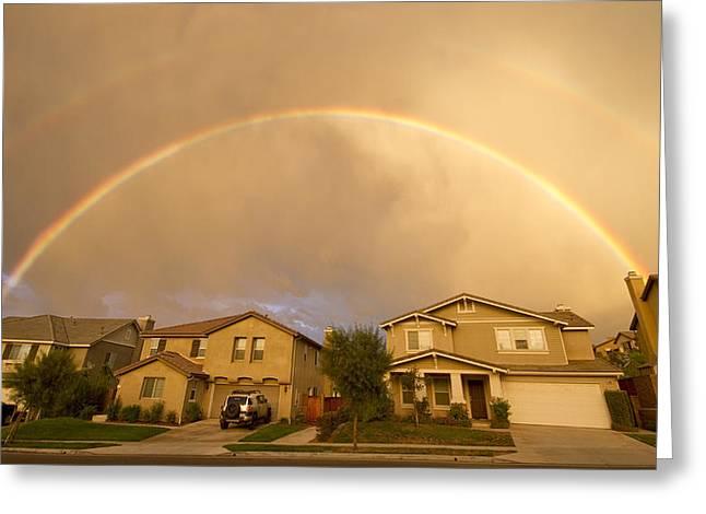 Rainbows Over Suburbia 1 Greeting Card by Jessica Velasco