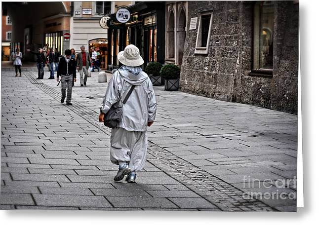 Rainwear In Salzburg Greeting Card by Mary Machare