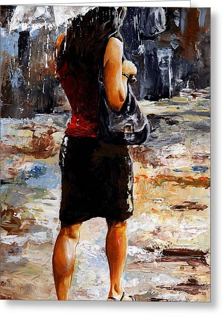 Rainy Day - Woman Of New York 04 Greeting Card by Emerico Imre Toth