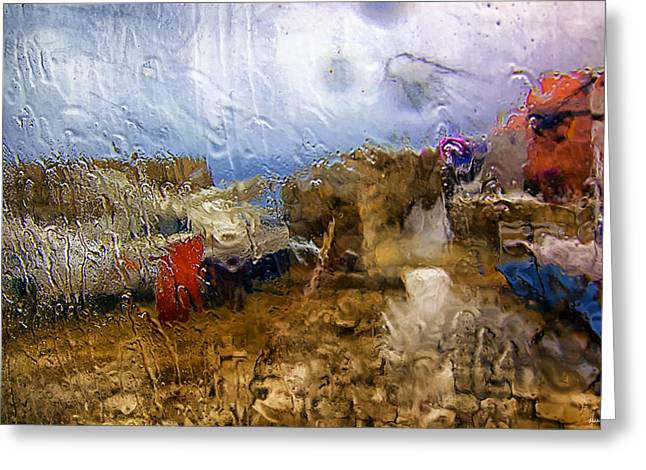 Rainy Day Abstract 3 Greeting Card by Madeline Ellis