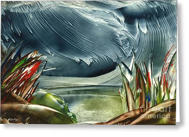 Rainy Day At The Lake Greeting Card by Tami Lowry