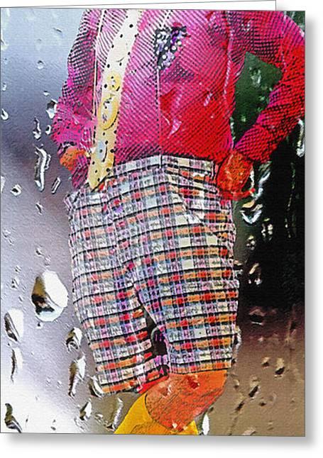 Rainy Day Clown 2 Greeting Card by Steve Ohlsen