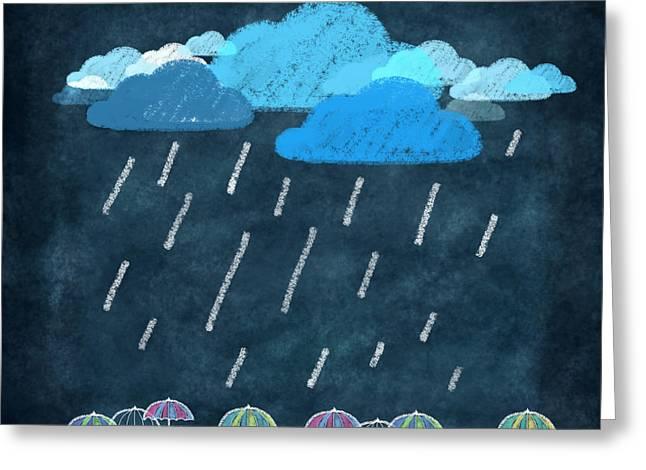 Rainy Day With Umbrella Greeting Card by Setsiri Silapasuwanchai