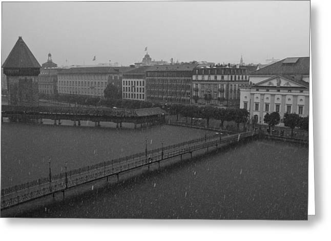 Rainy Days In Lucern Greeting Card by Jim Neumann