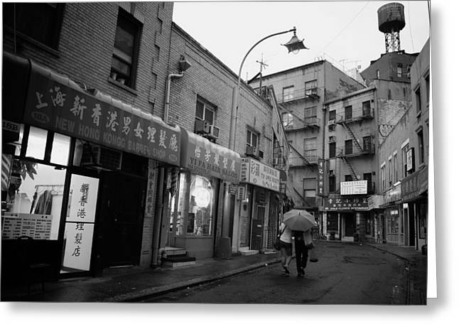 Rainy Evening - Chinatown - New York City Greeting Card by Vivienne Gucwa