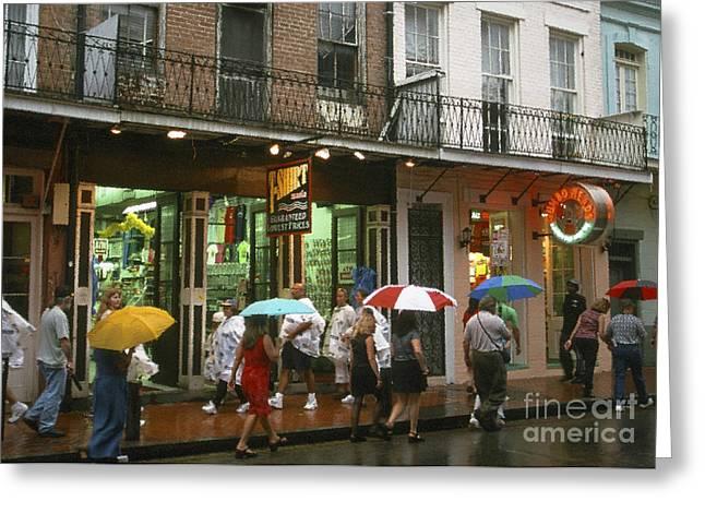 Rainy Evening On Bourbon Street  Greeting Card by Thomas R Fletcher