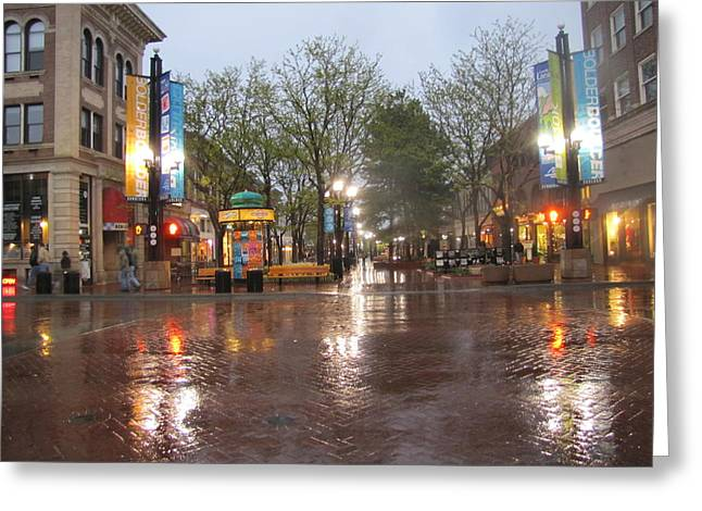 Greeting Card featuring the photograph Rainy Night In Boulder by Shawn Hughes