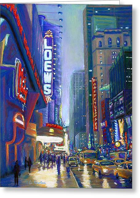 Rainy Reflections In Times Square Greeting Card by Li Newton