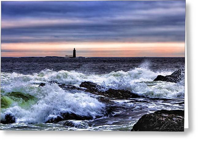 Ram Island Ledge Light Greeting Card by Rick Berk